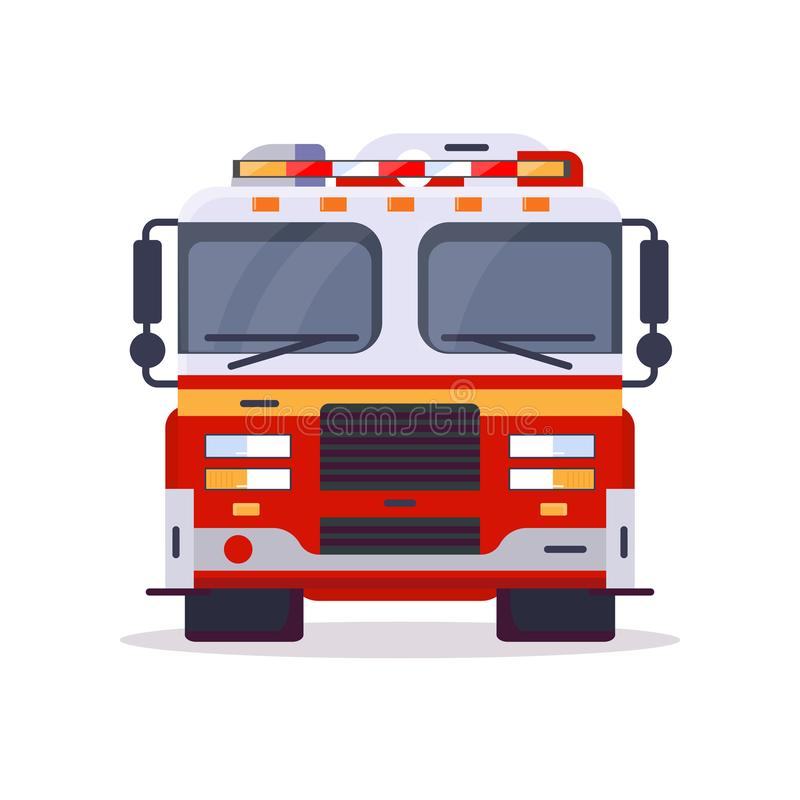 Front view of fire engine vector illustration