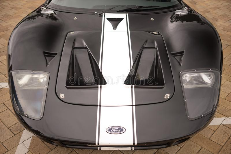 Ford GT sports car front view stock photos