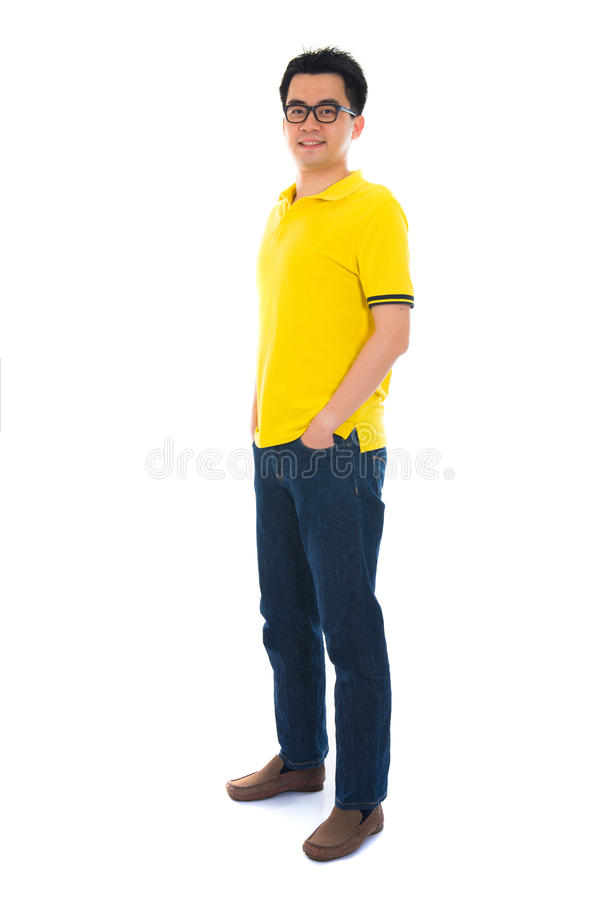 Front view full body Asian man standing isolated on white background royalty free stock image