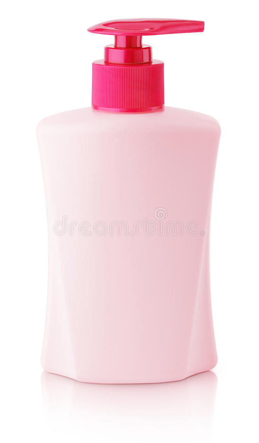 Front view of gel, foam or liquid soap dispenser pump pink plastic bottle isolated on white royalty free stock images