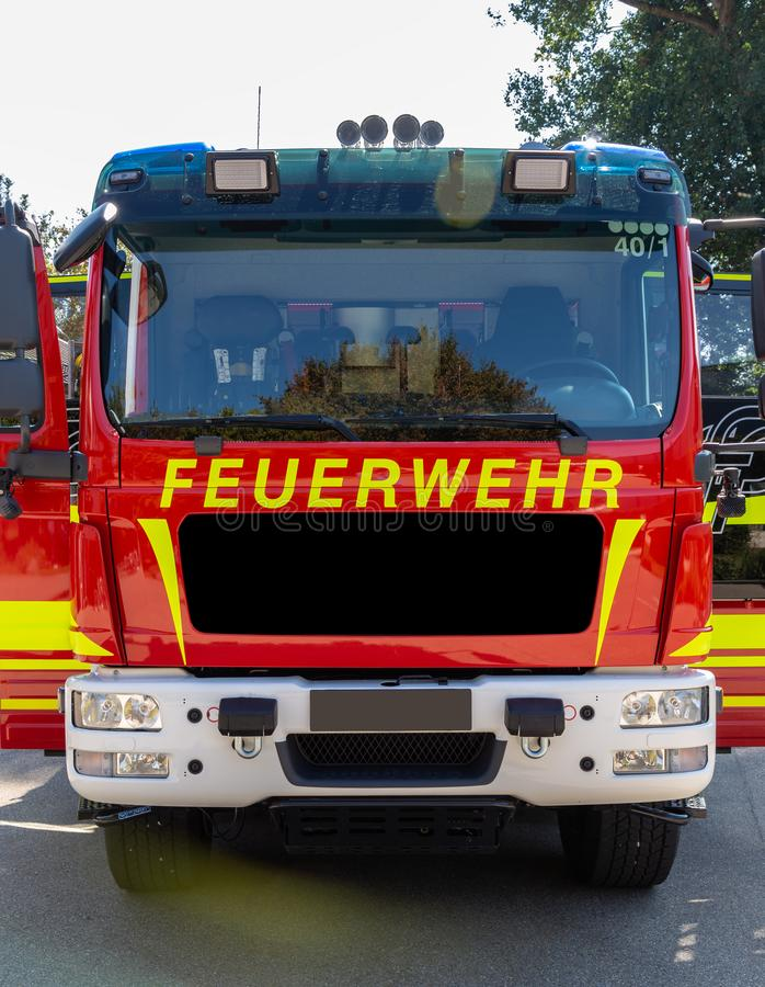 Front view of a german fire truck royalty free stock photos