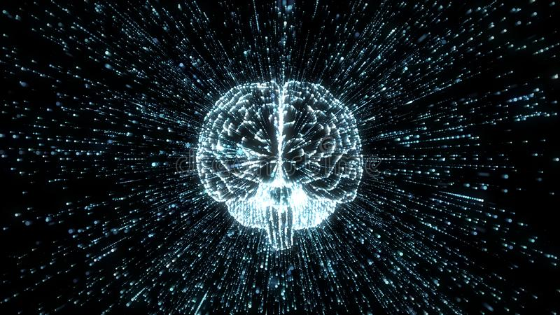 Digital brain image in cloud of exploding numerical data stock illustration