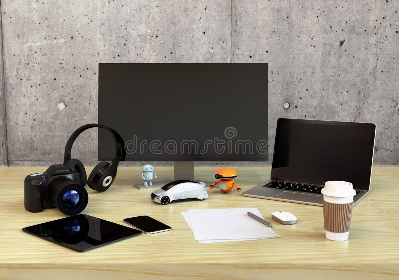Front view of graphic designer desktop vector illustration
