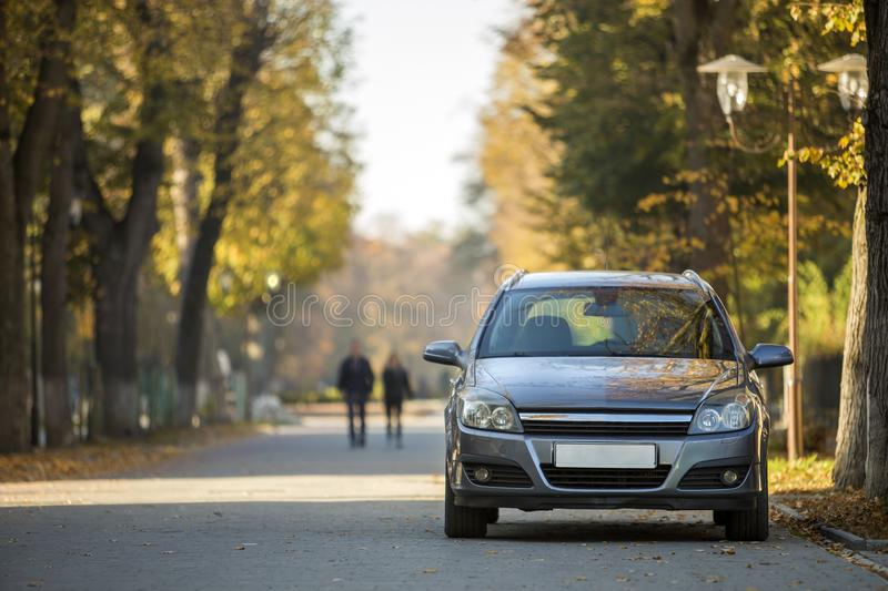 Front view of gray shiny empty car parked in quiet area on asphalt road at lamppost on blurred green and yellow trees. Bokeh background on bright sunny day royalty free stock photo