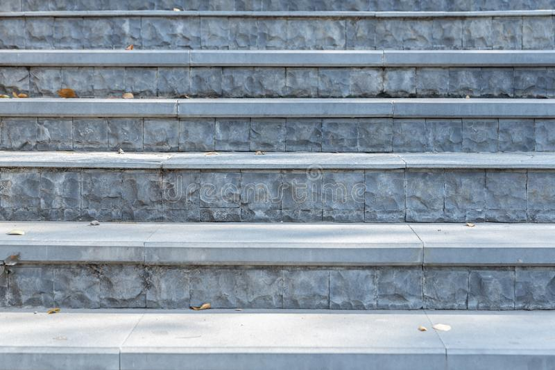 Front view of gray steps stair at park royalty free stock photography