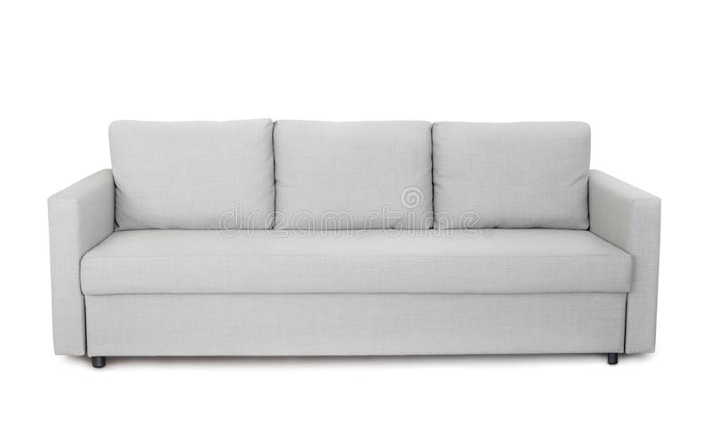 Front view of grey sofa stock photos