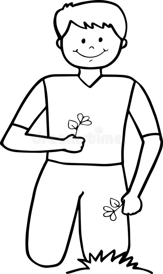 Happy smiling school boy sitting with flowers stock photos