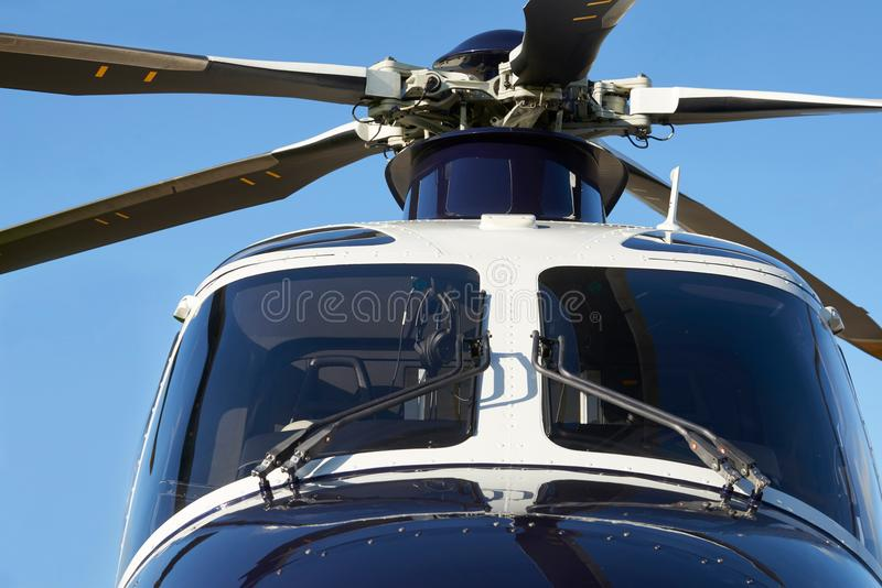 Exterior Front View Of Helicopter Cockpit And Rotor Blades stock images