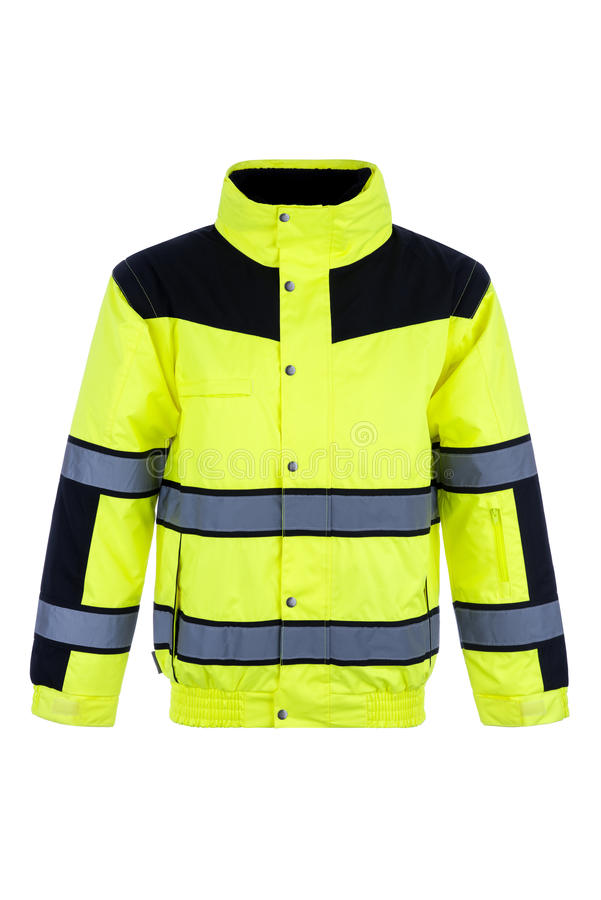 Front View of a High-Visibility Rain Jacket royalty free stock image