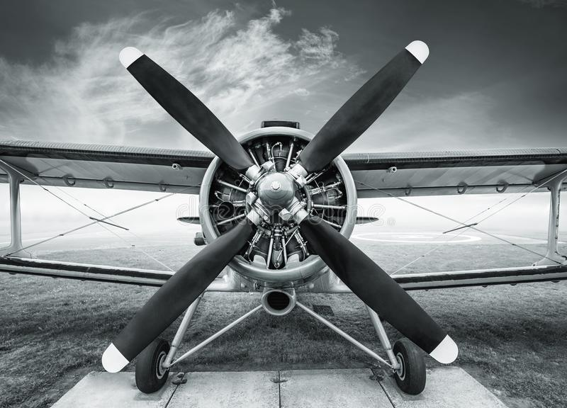 Biplane. Front view of an historic biplane royalty free stock photography