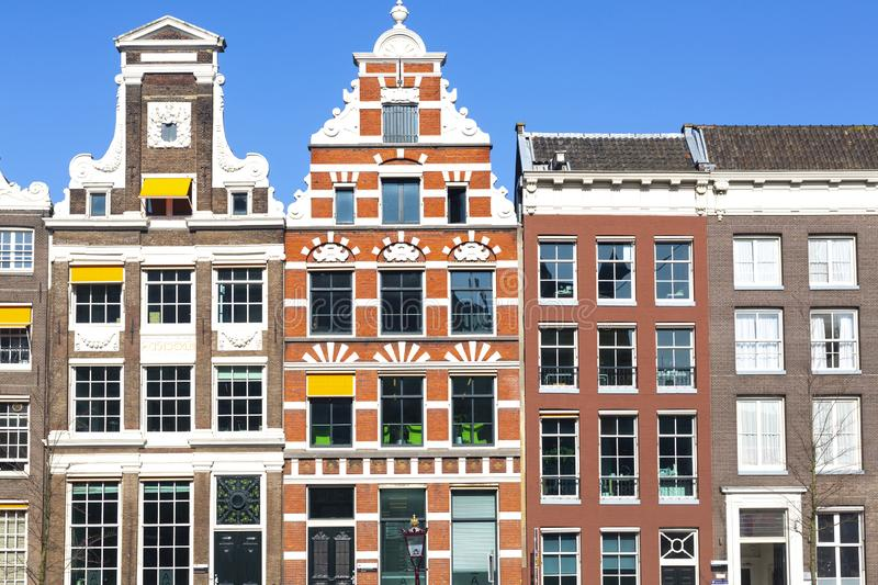 Front view of historic palaces in Amsterdam. Historic Amsterdam Palaces seen frontally stock photo
