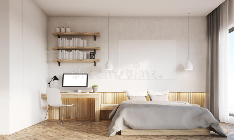 Front View Of Home Office And Master Bedroom With Two Windows Stock Illustration Illustration