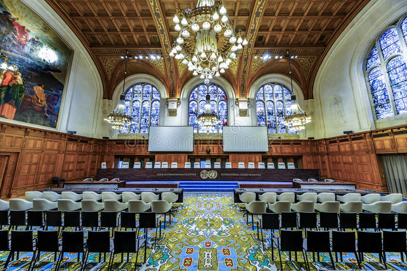 Front view of the International Court of Justice courtroom stock image