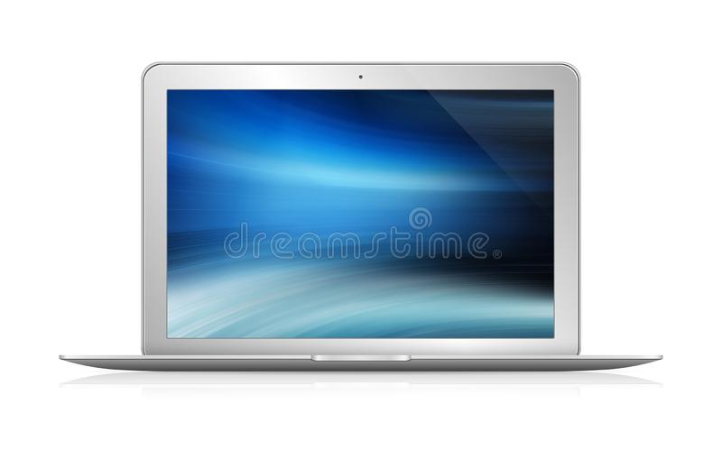 Isolated modern laptop with shadow front view 3d rendering royalty free illustration