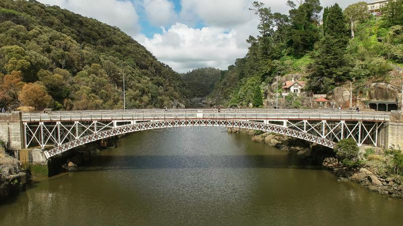 Front view of kings bridge and cataract gorge in launceston, tasmania. Front view of kings bridge and cataract gorge in the city of launceston in tasmania royalty free stock photography