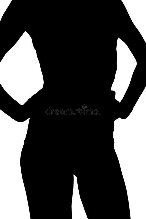 Front View la muchacha deportiva joven delgada en ropa interior negra muestra su figura, vientre deportivo en fondo aislado liger stock de ilustración