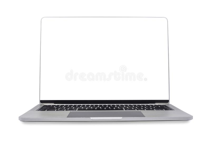 Front view, Laptop computer modern Thin edge slim design, blank screen isolated on white background royalty free stock image