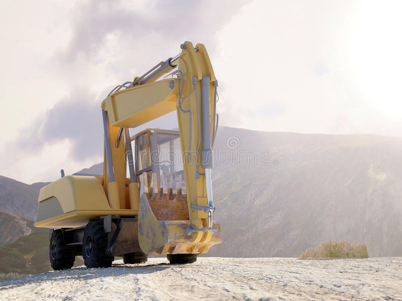Front view of a large heavy duty excavator stock illustration