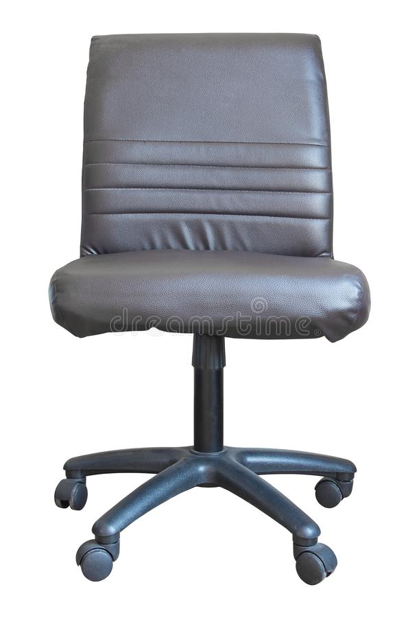 Front view of leather office chair isolated on white stock photo