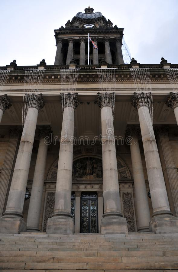 Front view of leeds town hall with main doors columns and steps stock images