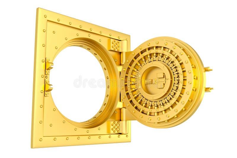 Front view of light gold bank vault door, open. 3D Render stock illustration