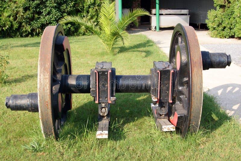 Front view of locomotive wheel axle stock photo