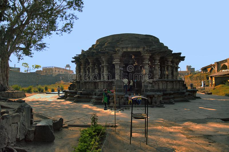 Kopeshwar temple. View from South-West. Khidrapur, Kolhapur, Maharashtra, India. Front view of Lord Shiva temple built by Shilahara King Gandaraditya and his royalty free stock images