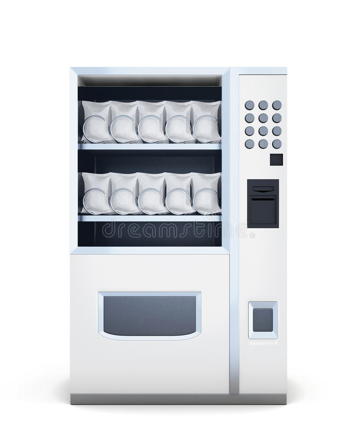 Front view machine for sale of snacks on white backgrou. Nd. 3d rendering vector illustration