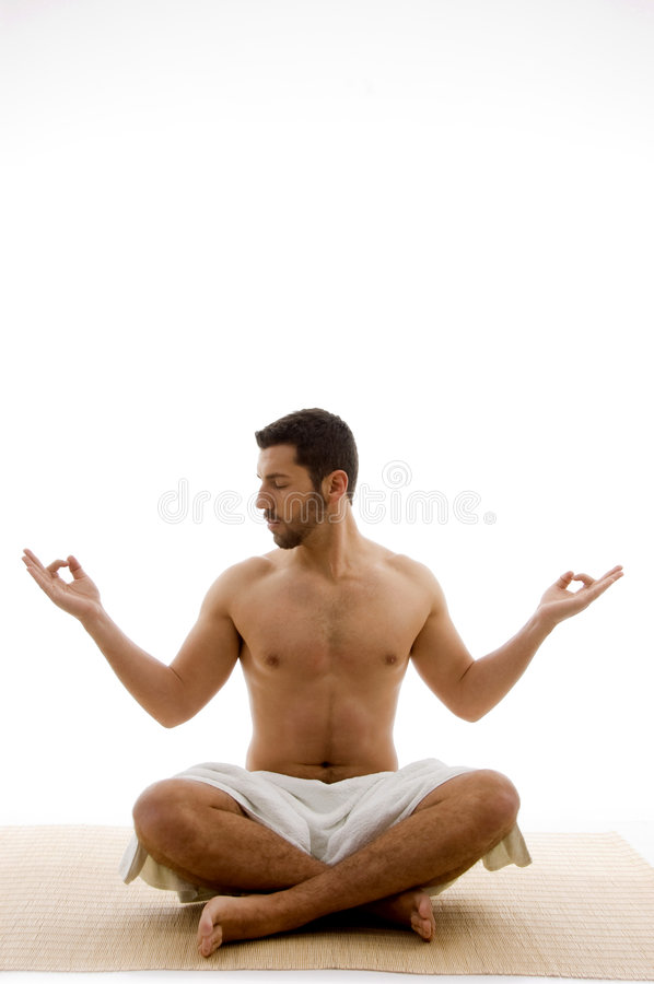 Front View Of Man In Yoga Pose Royalty Free Stock Photography