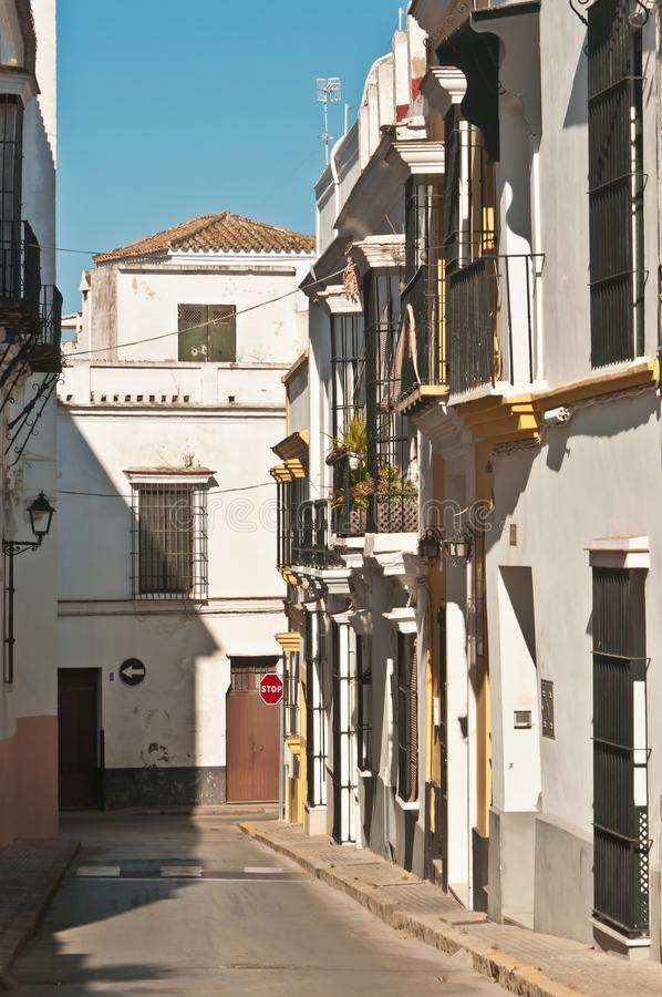 Front view, medium distance of a empty street in Spain royalty free stock photos