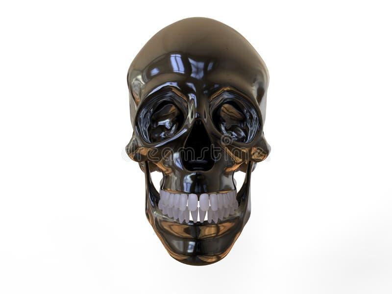 Front view metallic skull stock illustration