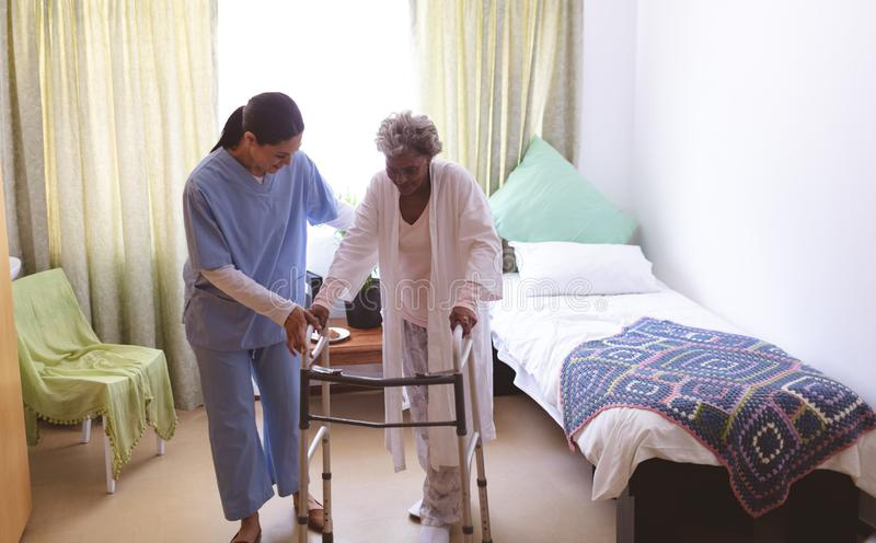 Female nurse helping senior female patient to stand with walker royalty free stock photo