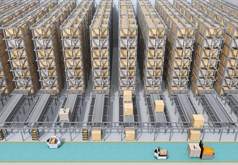 Front view of modern Automated Logistics Center`s interior royalty free stock images