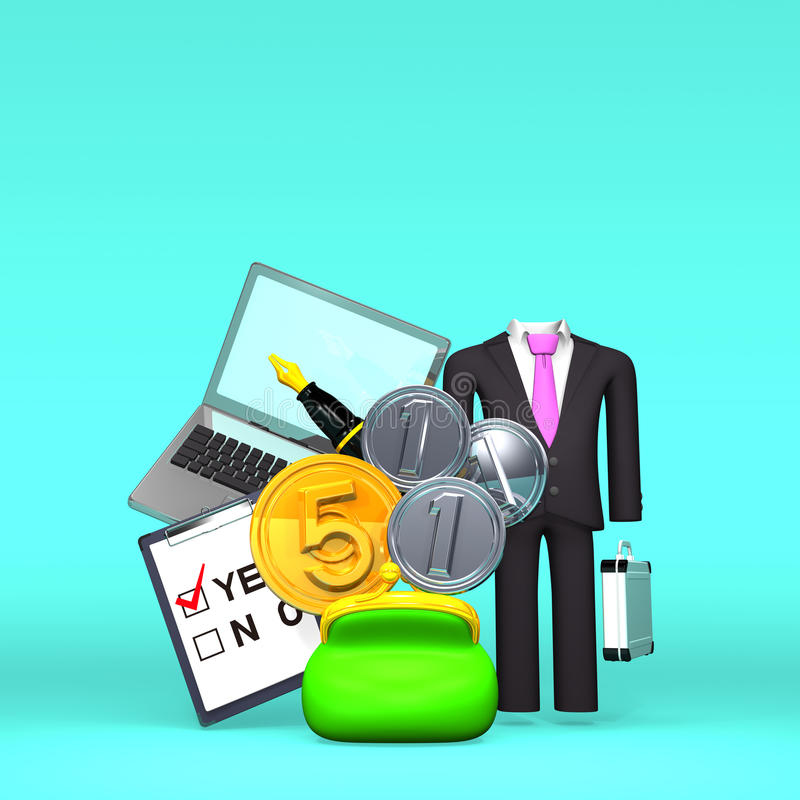 Front View Of Money And Business Item On Text Space royalty free illustration