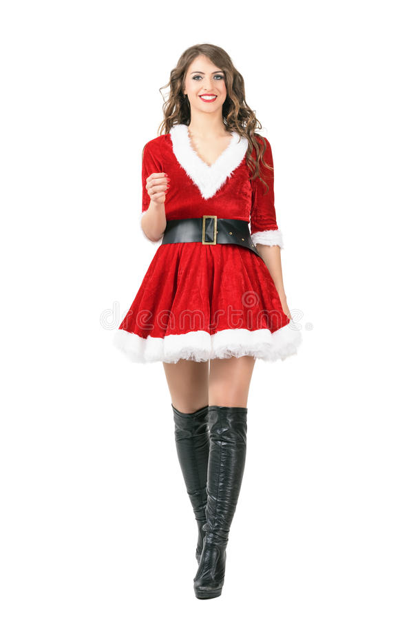 Free Front View Of Beautiful Young Female Santa Claus Walking Towards Camera Stock Image - 77842801