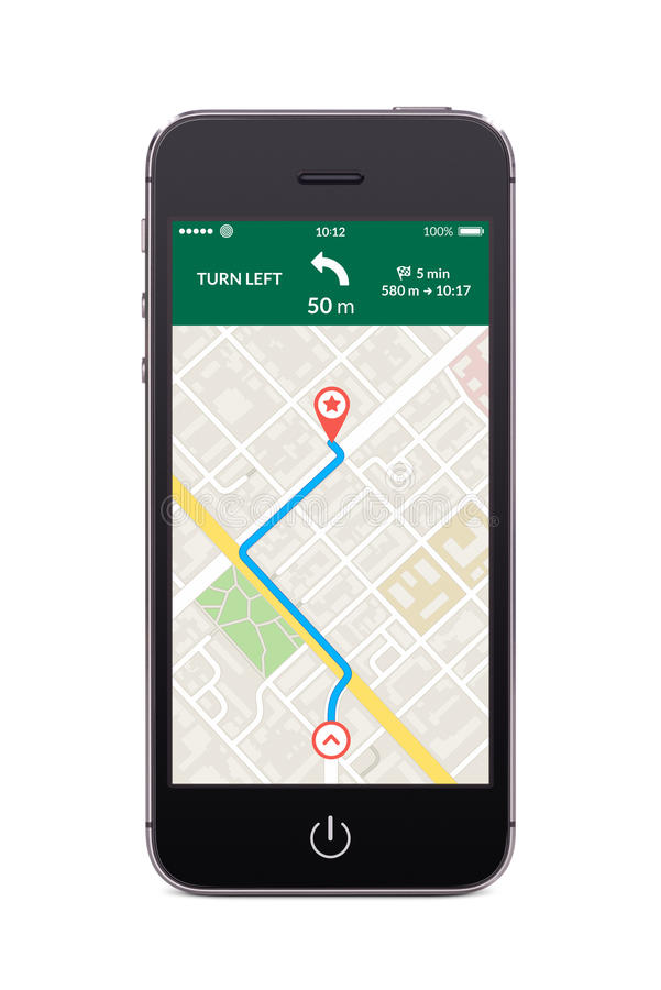 Free Front View Of Black Smart Phone With Map Gps Navigation App On T Royalty Free Stock Photo - 48865765