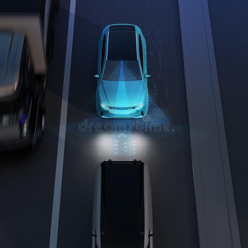 Free Front View Of Blue SUV Emergency Braking To Avoid Car Crash Stock Photo - 116990700