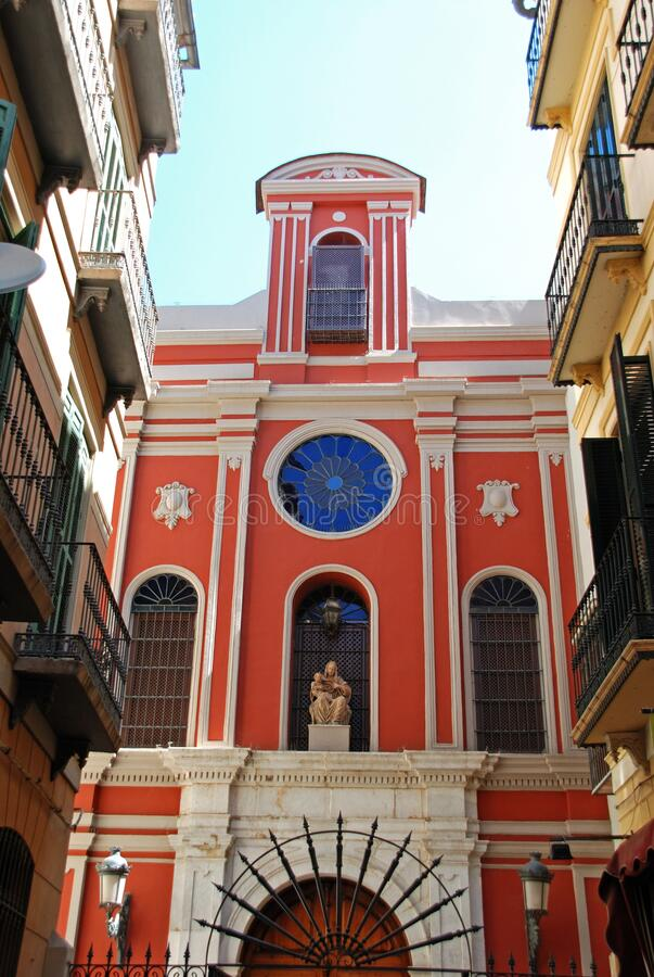 Free Front View Of Santa Ana Church In The City Centre, Malaga, Spain. Stock Photo - 170360790