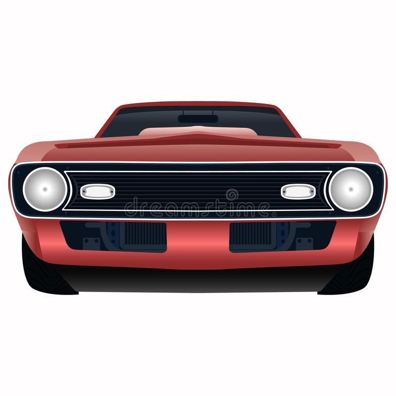 Free Front View Of The Powerful Red Car Vector Illustration Stock Image - 108062811