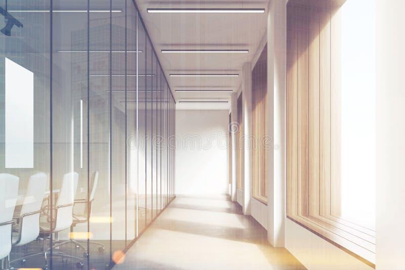 office corridor door glass. Front View Of Office Interior With Blank Whiteboard Behind Glass Doors, Hallway Concrete Floor And Panoramic Windows. Mock Up, 3D Rendering, Corridor Door N