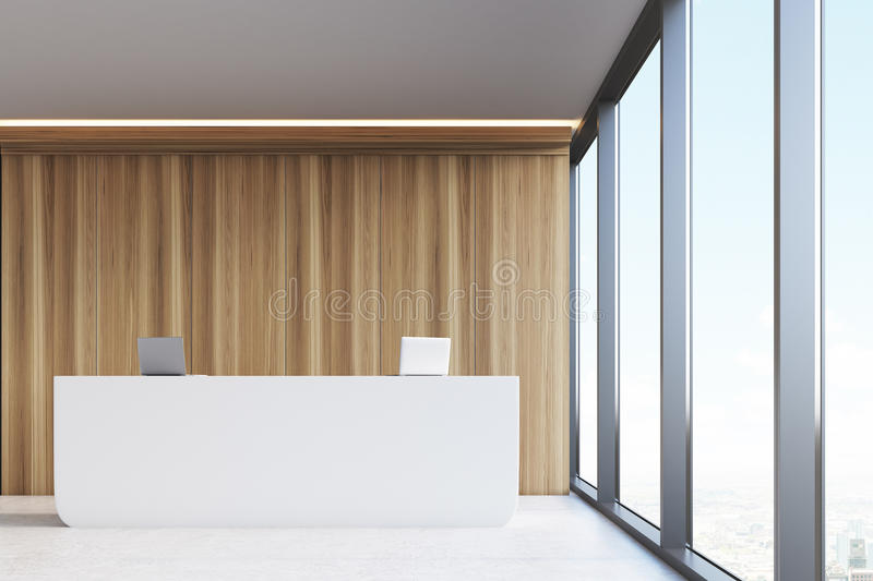 Download Front View, Office Reception, Wood Panels Stock Illustration - Image: 83722291