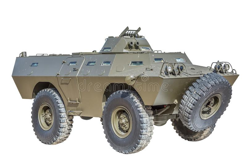Front view of old armored military vehicle royalty free stock photo