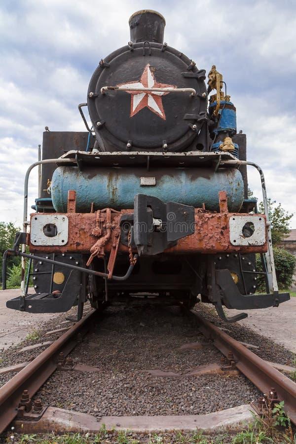 Old rusty steam locomotive stock photo