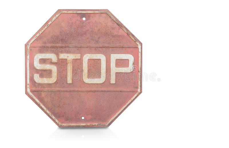 Front view old stop sign on white background,copy space royalty free stock images