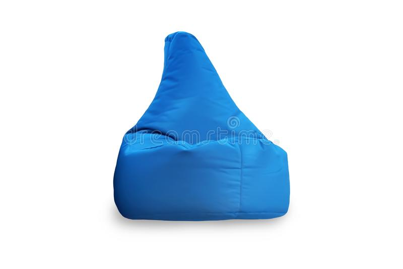 Front view of one soft blue Bean Bag Chair isolated on white background. Objects for design royalty free stock images