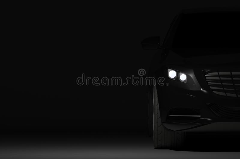 Front view part of black modern car closeup on black background stock illustration