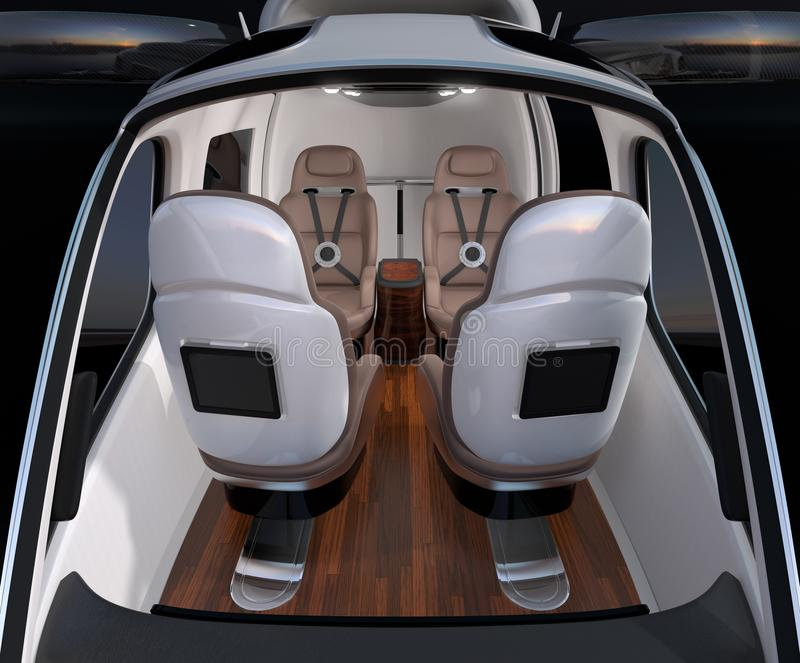 Front view of Passenger Drone interior. Front leather seats turned backward. 3D rendering image royalty free illustration