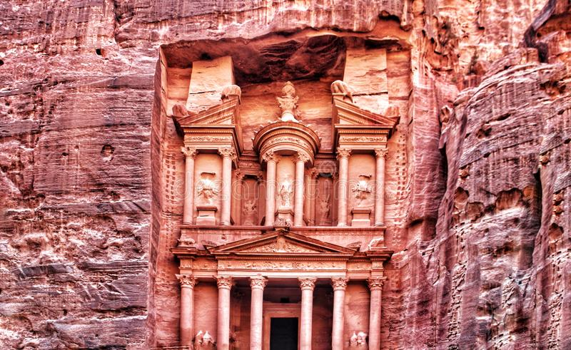 Front view of the Petra Treasury, one of the New 7 Wonders of the World, and one of the most popular landmarks in Jordan. royalty free stock photography