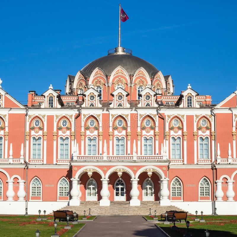 front view of Petrovsky Traveling Palace in Moscow royalty free stock image