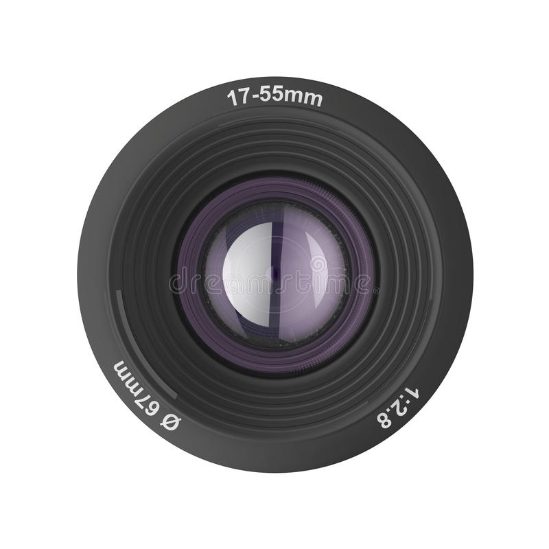 Front View Of Photographic Lens Stock Photo